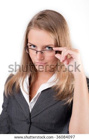 The girl looks from under points - stock photo
