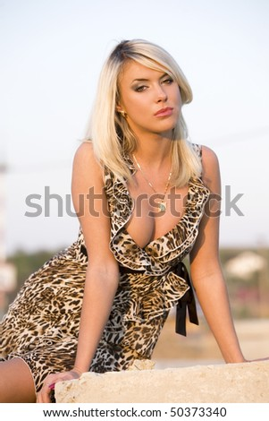 The girl on a building site. - stock photo