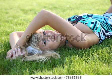 The girl on a grass