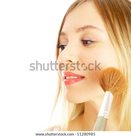 The girl on a white background. Make-up. - stock photo