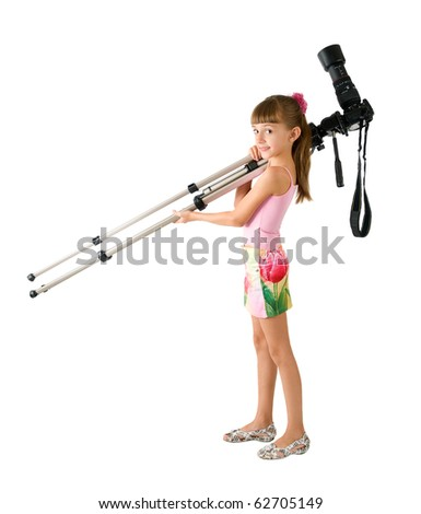The girl - photographer is photographed on the white background - stock photo