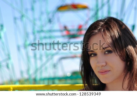 The girl rides an old swing - stock photo
