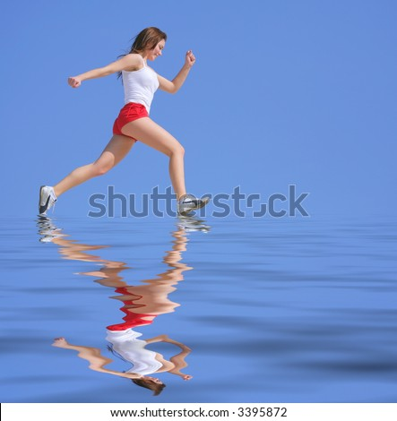 The girl runs on water