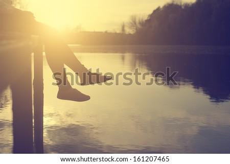 The girl's leg - stock photo