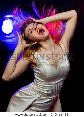 the girl shouts - stock photo