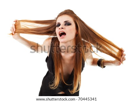 The  girl shouts in jacket in dark make up on white background