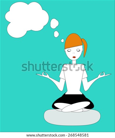 the girl sitting in the Lotus posture, practicing yoga, meditation and dream about something - raster copy illustration - stock photo