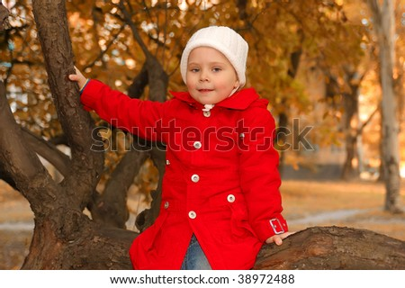 The girl sitting on a tree with yellow leaves. Autumn