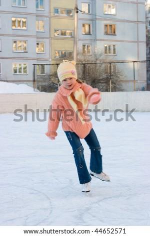 The girl skates - stock photo