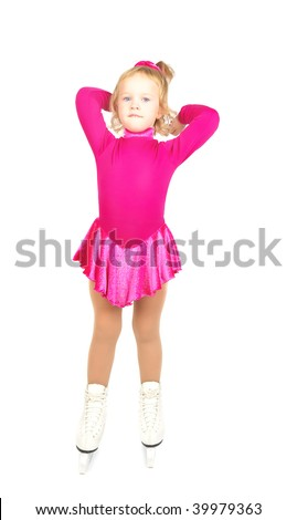 The girl skates relaxing  on a white background. Very happy child in purple plum dress.