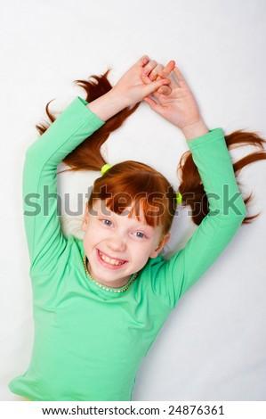 The girl smiles - stock photo