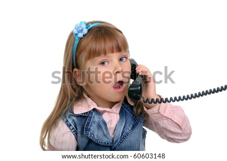 The girl speaks by phone - stock photo