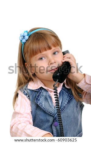 The girl speaks by phone isolated on white - stock photo