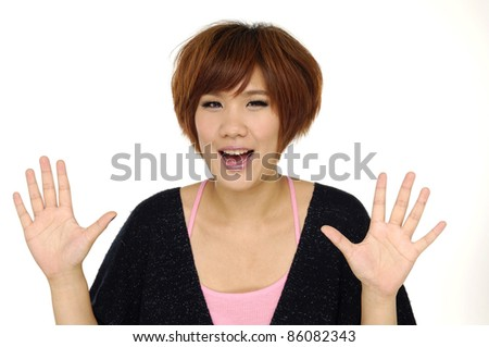 The girl stretches a hand close up - stock photo
