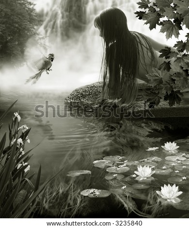 The Girl talks with paradise bird beside creek. - stock photo