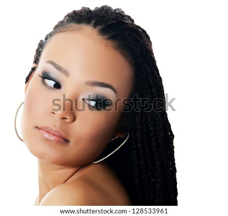 The girl the mulatto with beautiful make-up - stock photo