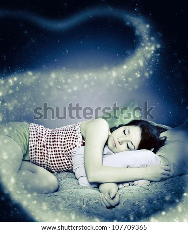The girl was asleep, the night - stock photo
