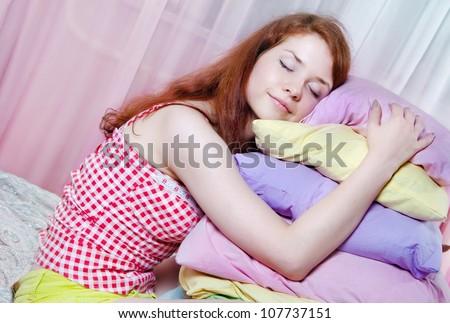 The girl was asleep, the night - stock photo