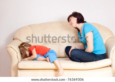 The girl was mad at my mother turned - stock photo