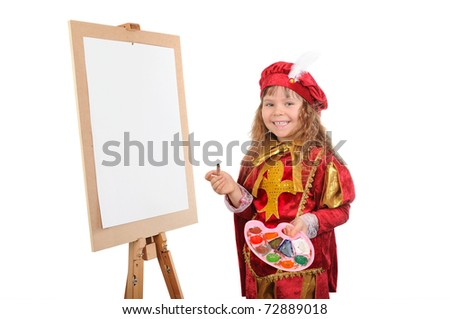 The girl with a brush and paints near an easel. Isolated on white - stock photo