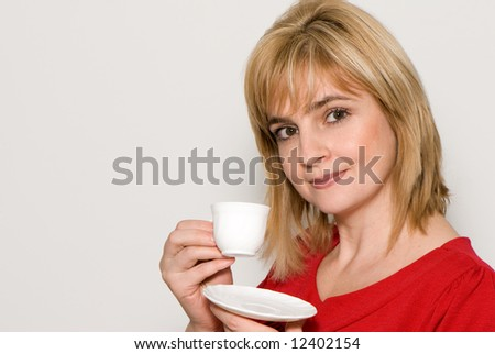 The girl with a coffee cup