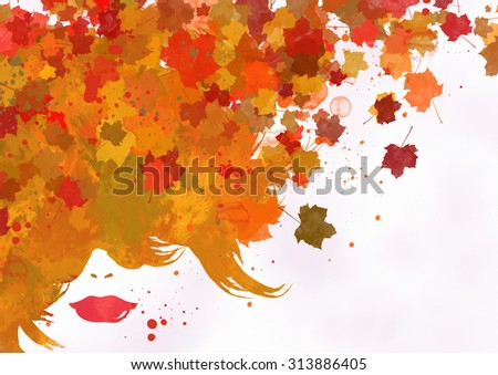 The girl with a hairdress from the turned yellow foliage - stock photo
