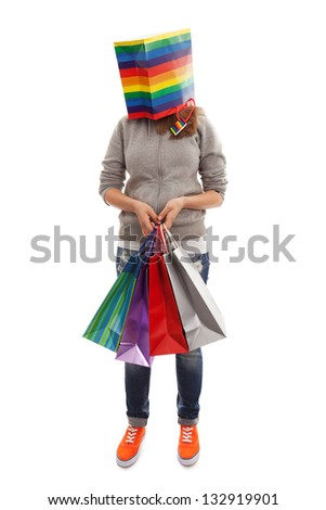 The girl with a package for purchases instead of a head