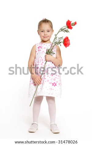 The girl with a poppy on a white background