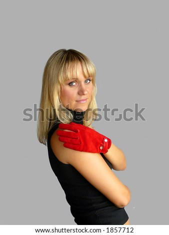 The girl with a red glove