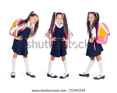 The girl with a school bag on a white background