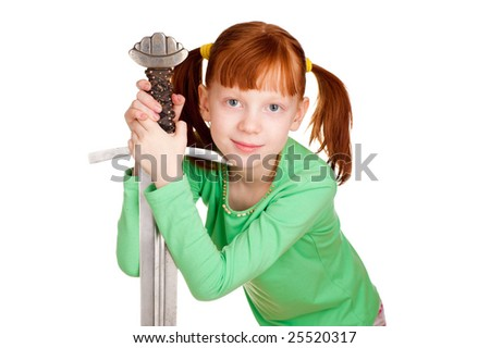The girl with a sword. A photo on a white background. - stock photo