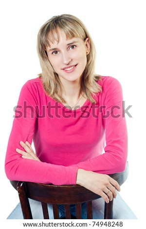 The girl with blonde hair on white background