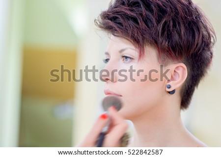 Girl Dark Hair Short Hair Make Stock Photo Royalty Free Royalty