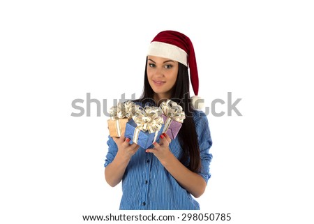 The girl with gifts on a white background - stock photo