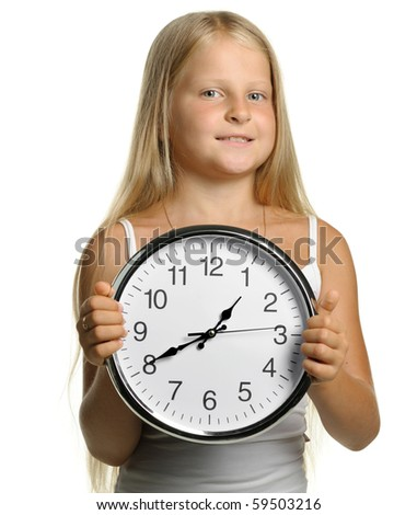 The girl with large clock. It is isolated on a white background - stock photo