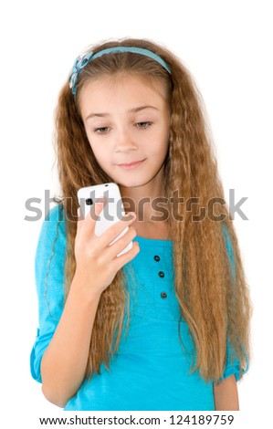 The girl with mobile phone in the blue blouse - stock photo
