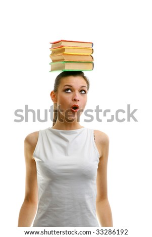 The girl with set of the books - stock photo