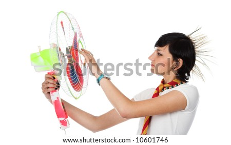 The girl with the fan on a white background - stock photo