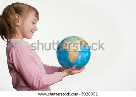 The girl with the globe on a white background