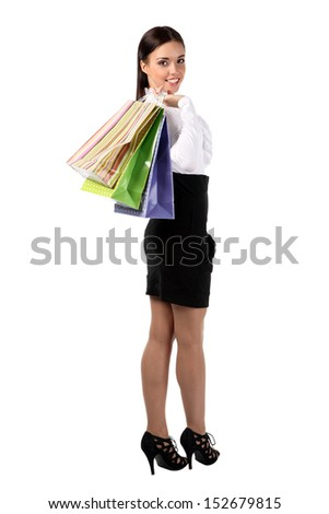 The girl with the office worker shopping in the beautiful bags
