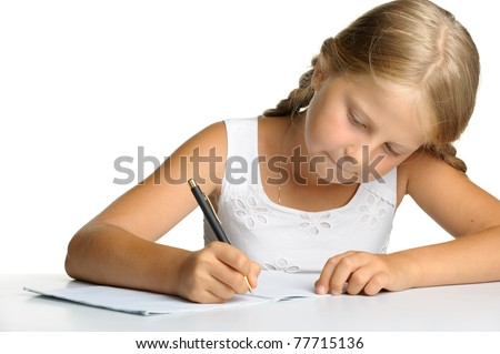 The girl writes to writing-books. The decision of lessons. It is isolated on a white background
