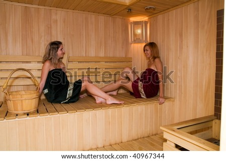 The girls relax in the sauna of his hotel