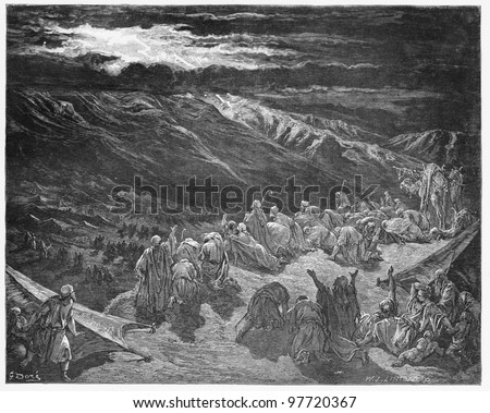 The giving of the Law upon Mt. Sinai - Picture from The Holy Scriptures, Old and New Testaments books collection published in 1885, Stuttgart-Germany. Drawings by Gustave Dore. - stock photo