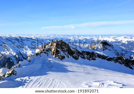 The Glacier - Freedom at 3,000 Metres. Kitzsteinhorn Mountain. Skiing Resort Kaprun, The Alps, Austria. - stock photo