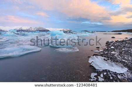 The glacier lagoon at sunrise in vatnajokull national parl