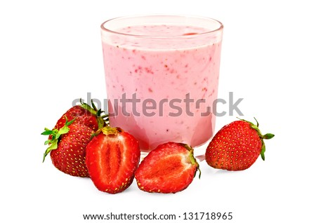 The glass of milkshake, whole and half strawberry isolated on white background - stock photo