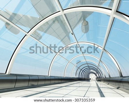 The glass tunnel and aircraft. - stock photo