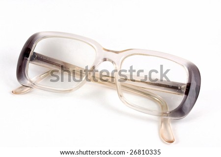 The glasses lie on a white background