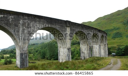 the Glenfinnan Viaduct in Scotland at summer time
