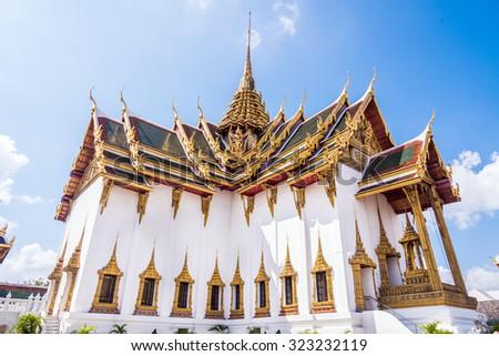The glittering royal Grand palace building of the King of Thailand at Bangkok. - stock photo